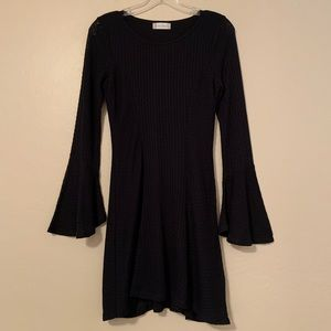 Altar'd State Black Knit Lined Dress Bell Sleeves